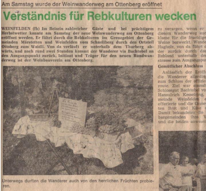 """Erster """"Weinwanderweg am Ottenberg"""" eröffnet"""