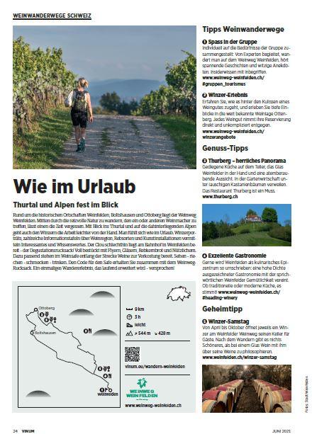WEINWEG WEINFELDEN gehört zu den schönsten Weinwanderwegen der Schweiz